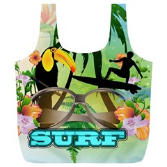 Surfing Full Print Recycle Bags (l)  by FantasyWorld7