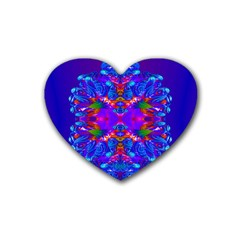Abstract 5 Rubber Coaster (heart)  by icarusismartdesigns