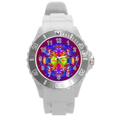 Abstract 6 Round Plastic Sport Watch (l) by icarusismartdesigns