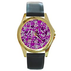 Sparkling Hearts Purple Round Gold Metal Watches by MoreColorsinLife