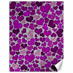 Sparkling Hearts Purple Canvas 12  X 16   by MoreColorsinLife