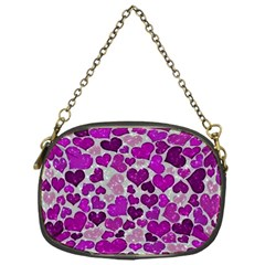 Sparkling Hearts Purple Chain Purses (one Side)  by MoreColorsinLife