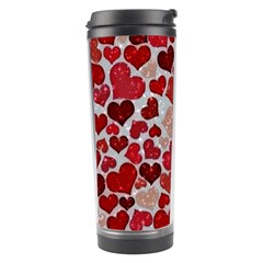 Sparkling Hearts, Red Travel Tumblers by MoreColorsinLife