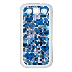 Hearts And Checks, Blue Samsung Galaxy S3 Back Case (white) by MoreColorsinLife