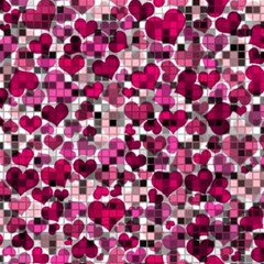 Hearts And Checks, Pink Magic Photo Cubes