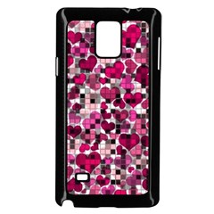 Hearts And Checks, Pink Samsung Galaxy Note 4 Case (black) by MoreColorsinLife