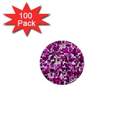 Hearts And Checks, Purple 1  Mini Magnets (100 Pack)  by MoreColorsinLife