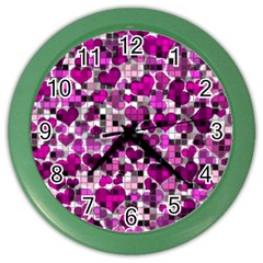 Hearts And Checks, Purple Color Wall Clocks by MoreColorsinLife