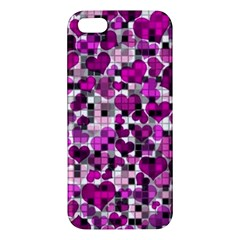 Hearts And Checks, Purple Iphone 5s Premium Hardshell Case by MoreColorsinLife