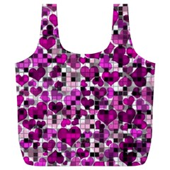 Hearts And Checks, Purple Full Print Recycle Bags (l)  by MoreColorsinLife