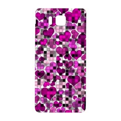 Hearts And Checks, Purple Samsung Galaxy Alpha Hardshell Back Case by MoreColorsinLife