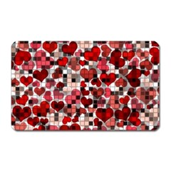 Hearts And Checks, Red Magnet (rectangular)