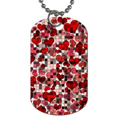Hearts And Checks, Red Dog Tag (one Side)