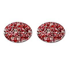 Hearts And Checks, Red Cufflinks (oval) by MoreColorsinLife