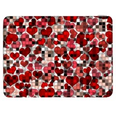 Hearts And Checks, Red Samsung Galaxy Tab 7  P1000 Flip Case by MoreColorsinLife