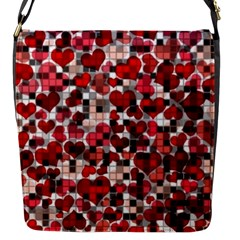 Hearts And Checks, Red Flap Messenger Bag (s) by MoreColorsinLife