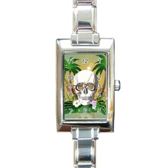 Funny Skull With Sunglasses And Palm Rectangle Italian Charm Watches by FantasyWorld7