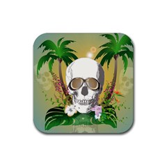Funny Skull With Sunglasses And Palm Rubber Square Coaster (4 Pack)  by FantasyWorld7
