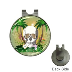 Funny Skull With Sunglasses And Palm Hat Clips With Golf Markers by FantasyWorld7