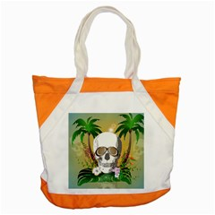 Funny Skull With Sunglasses And Palm Accent Tote Bag  by FantasyWorld7