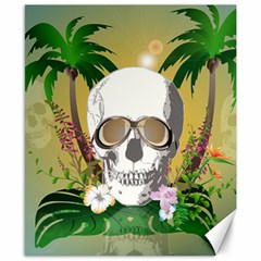Funny Skull With Sunglasses And Palm Canvas 8  X 10  by FantasyWorld7