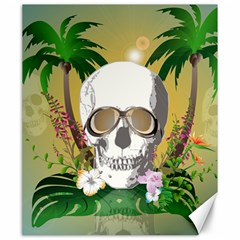 Funny Skull With Sunglasses And Palm Canvas 20  X 24