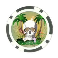 Funny Skull With Sunglasses And Palm Poker Chip Card Guards by FantasyWorld7