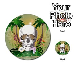Funny Skull With Sunglasses And Palm Multi Purpose Cards (round)  by FantasyWorld7