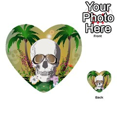 Funny Skull With Sunglasses And Palm Multi Purpose Cards (heart)  by FantasyWorld7