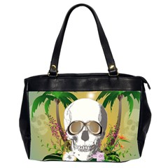 Funny Skull With Sunglasses And Palm Office Handbags (2 Sides)  by FantasyWorld7