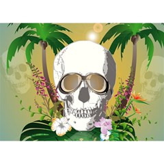 Funny Skull With Sunglasses And Palm Birthday Cake 3d Greeting Card (7x5)  by FantasyWorld7