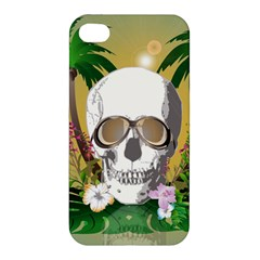 Funny Skull With Sunglasses And Palm Apple Iphone 4/4s Premium Hardshell Case by FantasyWorld7