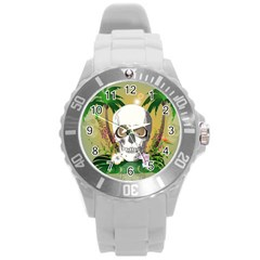 Funny Skull With Sunglasses And Palm Round Plastic Sport Watch (l) by FantasyWorld7
