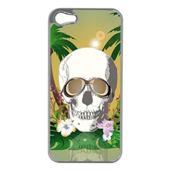 Funny Skull With Sunglasses And Palm Apple Iphone 5 Case (silver) by FantasyWorld7