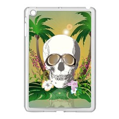 Funny Skull With Sunglasses And Palm Apple Ipad Mini Case (white) by FantasyWorld7
