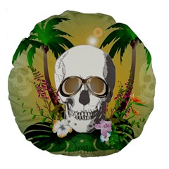 Funny Skull With Sunglasses And Palm Large 18  Premium Round Cushions