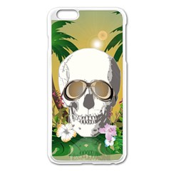 Funny Skull With Sunglasses And Palm Apple Iphone 6 Plus Enamel White Case