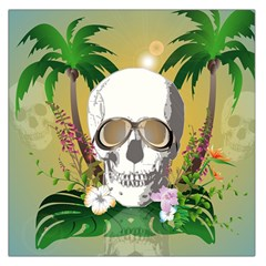 Funny Skull With Sunglasses And Palm Large Satin Scarf (square) by FantasyWorld7