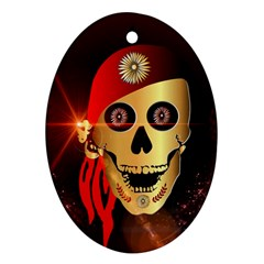 Funny, Happy Skull Ornament (oval)  by FantasyWorld7