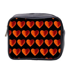 Heart Pattern Orange Mini Toiletries Bag 2 Side
