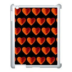 Heart Pattern Orange Apple Ipad 3/4 Case (white) by MoreColorsinLife