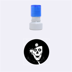 Funny, Happy Skull Rubber Round Stamps (small) by FantasyWorld7