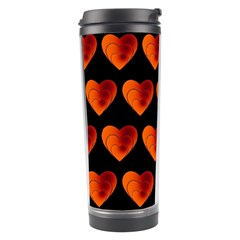 Heart Pattern Orange Travel Tumblers by MoreColorsinLife