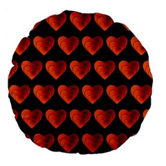 Heart Pattern Orange Large 18  Premium Flano Round Cushions