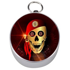Funny, Happy Skull Silver Compasses by FantasyWorld7