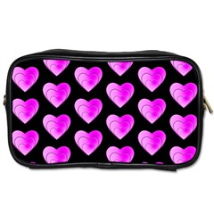 Heart Pattern Pink Toiletries Bags 2 Side by MoreColorsinLife