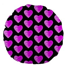Heart Pattern Pink Large 18  Premium Flano Round Cushions