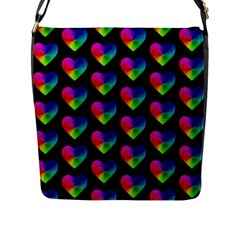 Heart Pattern Rainbow Flap Messenger Bag (l)  by MoreColorsinLife