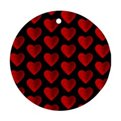 Heart Pattern Red Ornament (round)  by MoreColorsinLife