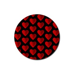 Heart Pattern Red Rubber Coaster (round)  by MoreColorsinLife